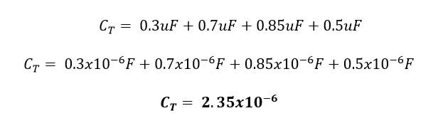 Calculando la capacitancia equivalente o total de un circuito de capacitores conectados en paralelo