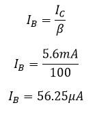 Calculo de corriente en base o corriente de entrada.