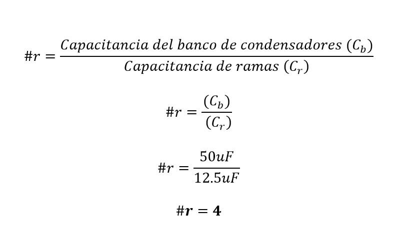 Calculo de las ramas de un banco de capacitores