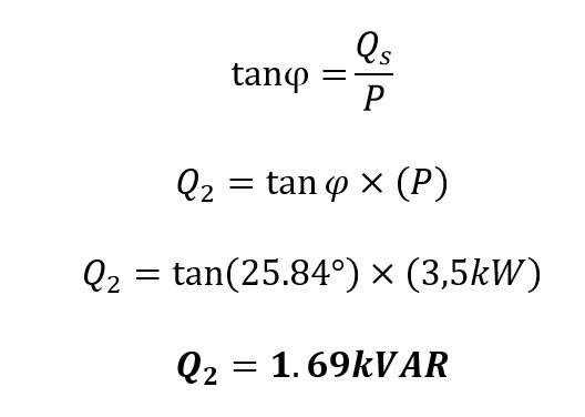 Calculo de la potencia reactiva final en la corrección de potencia