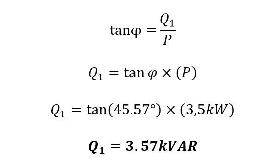 Calculo de la potencia reactiva inicial en la corrección del factor de potencia