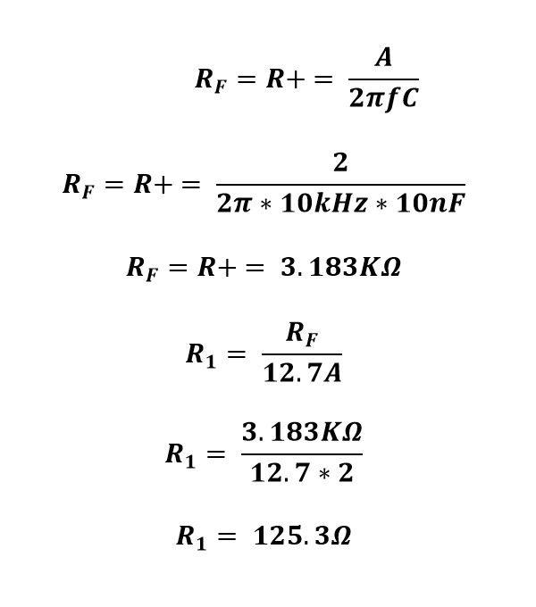 Calculo de resistencia del ejercicio del amplificador derivador