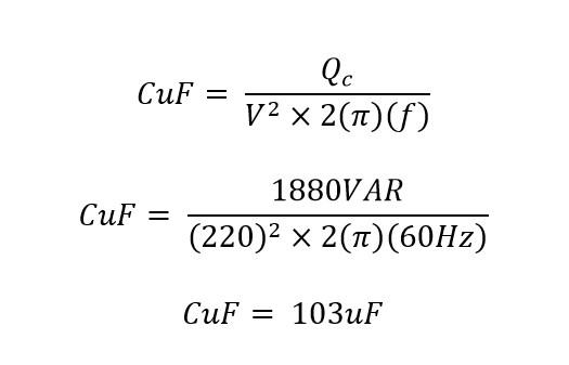 Calculo de la capacitancia del condensador para corregir el factor de potencia