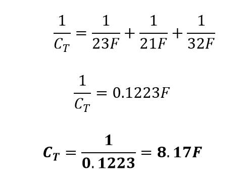 Capacitancia equivalente de un circuito en serie de capacitores
