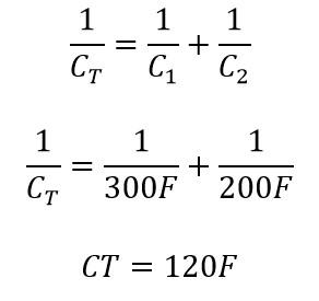 Calculo de la capacitancia equivalente en la conexión de supercapacirores en serie