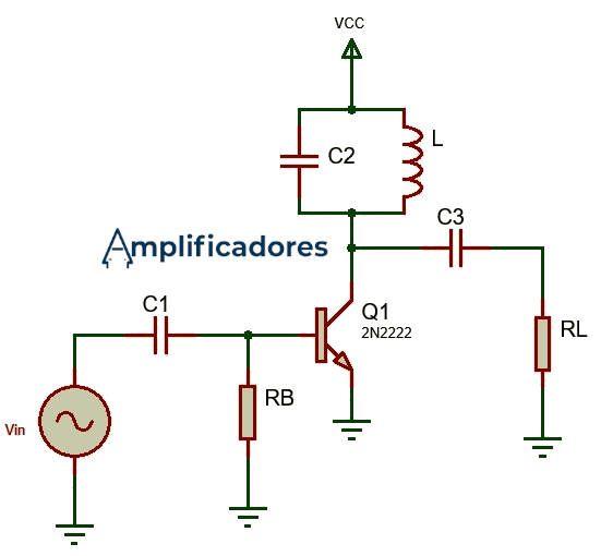 Circuito ejemplo y básico de un amplificador clase C