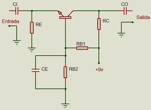 Circuito de configuración Base común en transistor BJT.