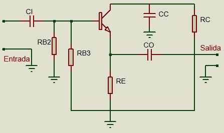 Circuito de configuración en colector común en transistor BJT.