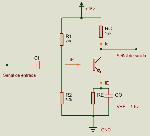 Circuito de amplificador ejemplo.