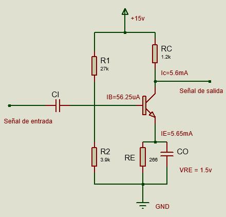 Circuito de amplificador resuelto.