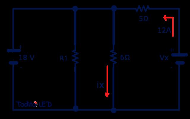 Circuito de ejemplo leyes de Kirchhoff