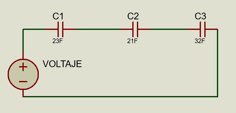 Circuito eléctrico de una conexión de capacitores en serie