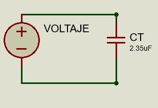 Circuito equivalente de capacitores conectados en paralelo