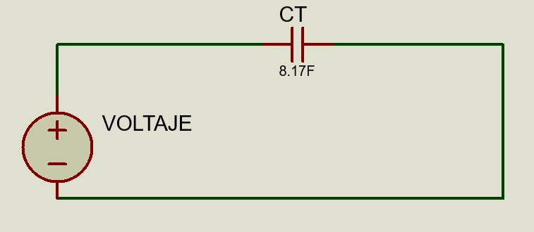 Circuito equivalente de un circuito de capacitores en serie