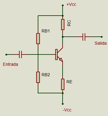 Polarización por divisor de voltaje.