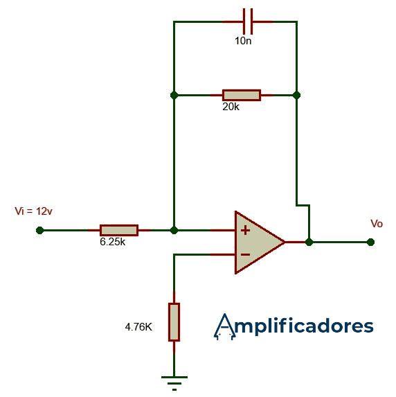 Circuito solución al ejercicio del amplificador integrador
