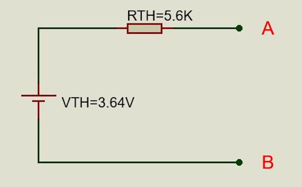 Circuito de voltaje equivalente Thevenin