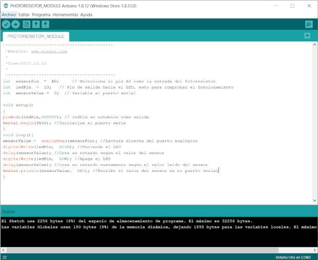 Código del fotoresistor para Arduino
