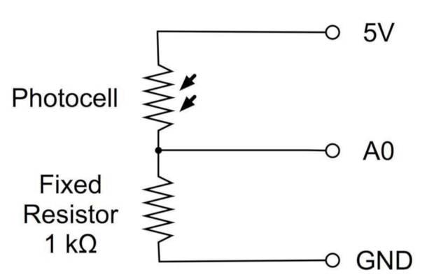 Conexión de ejemplo del sensor fotoresistor