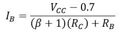 Fórmula para calcular la corriente de base en polarización por contrarreacción de voltaje.
