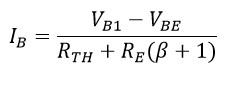 Fórmula para calcular la corriente de base en polarización por divisor de voltaje.
