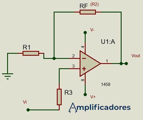 Diagrama general del amplificador no inversor