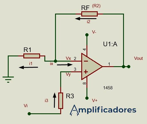 Sentido de la corriente eléctrica en un amplificador no inversor
