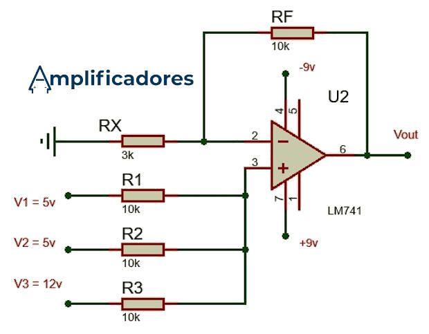 Diagrama ejercicio del amplificador sumador no inversor