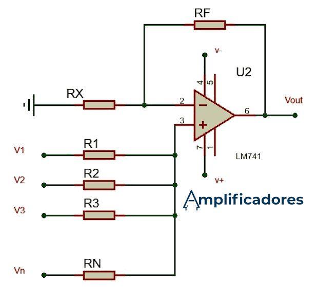 Diagrama de conexiones del amplificador sumador no inversor