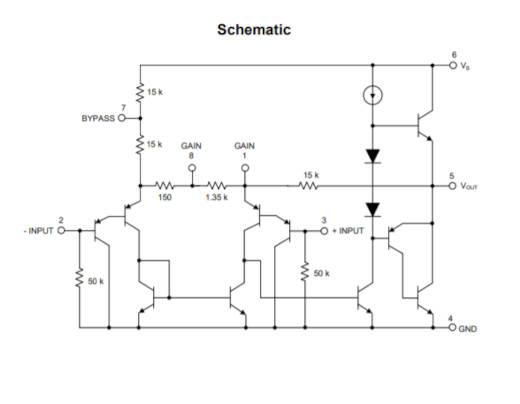 Diagrama esquemático interno del amplificador LM386