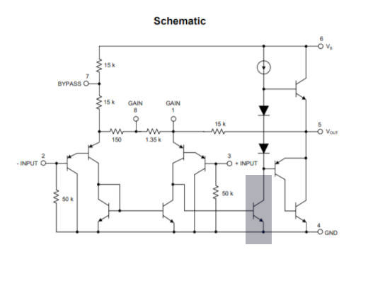 Señalización del transistor de la etapa de potencia del amplificador LM386