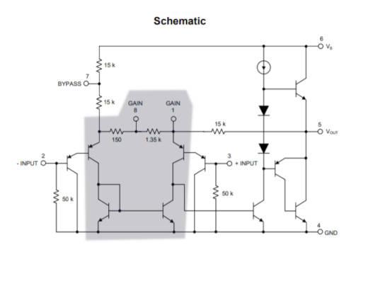 Señalización de los transistores Long Tailed Pair, para analizar la ganancia de tensión del LM386