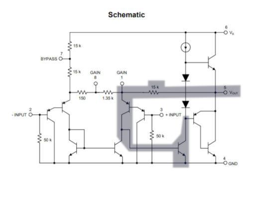 Señalización de la retroalimentación en un amplificador LM386