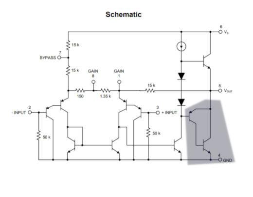Señalización de la etapa de salida del amplificador LM386