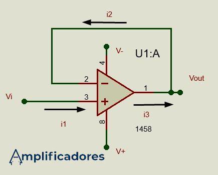 Diagrama ejemplo amplificador seguidor de voltaje