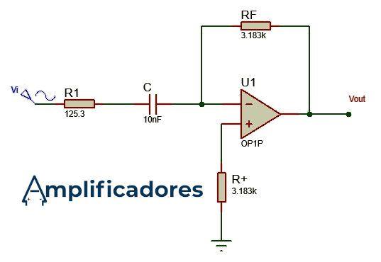 Diagrama resuelto del ejercicio, diseñar un amplificador derivador