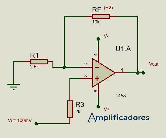 Diagrama resuelto del ejercicio amplificador no inversor