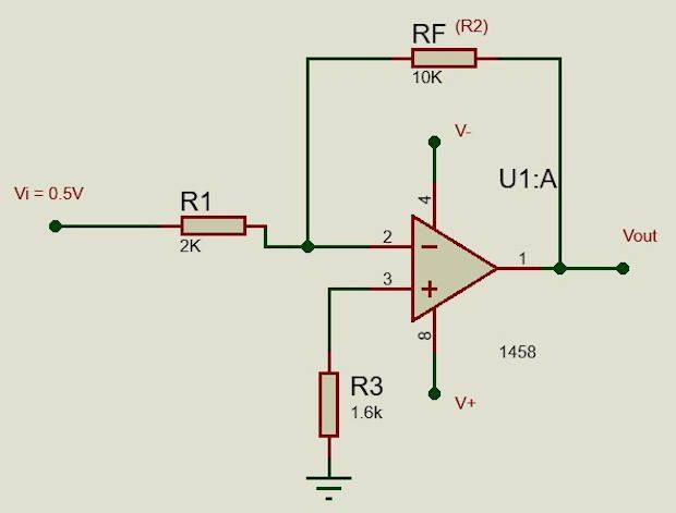 Diagrama con la solución del calculo de resistencias del amplificador inversor