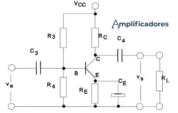 Diagrama de un circuito amplificador clase A