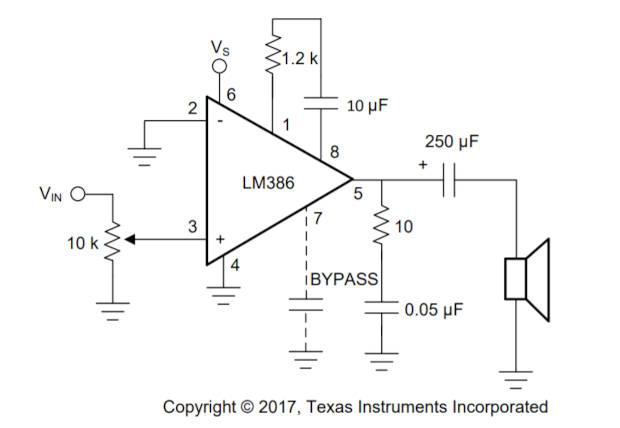 Circuito ejemplo de una amplificador de audio de ganancia de 50 con un LM386