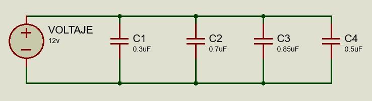 Ejemplo de un circuito de capacitores conectados en paralelo