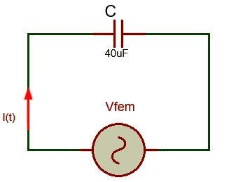 Circuito ejercicio 1 reactancia capacitiva