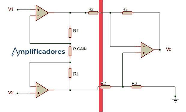 Etapas de un amplificador de instrumentación