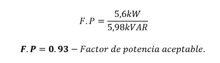 Factor de potencia calculada