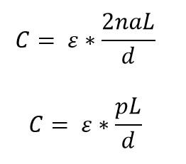 Formula de la capacitancia de la botella de Leyden