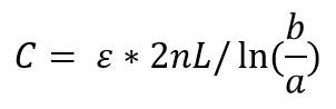 Formula de la capacitancia para condensadores de placas cilindricas