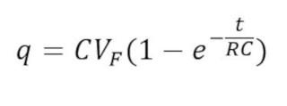 Despejando la carga de la Integración en la formula de la carga del capacitor