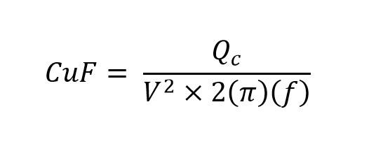 Formula del capacitor para corregir el factor de potencia