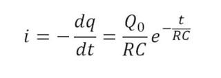Formula de la corriente eléctrica en la descarga de un capacitor