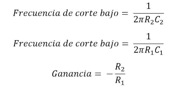 Formula de frecuencias en el amplificador operacional